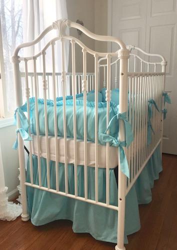 Crib Set - Shabby Sweet Aqua Ruffled Crib Bedding