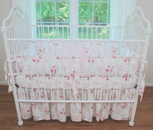Shabby Pink Sweet Sue Floral Crib Bedding #2