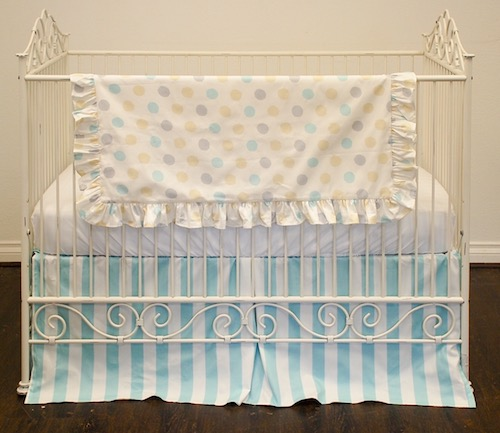 Ruffled Crib Blanket - Aqua, Silver and Yellow Big Dots