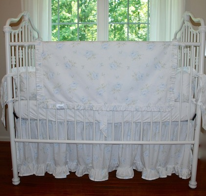 Crib Blanket - Shabby Sweet Faded Blue Cabbage Rose Ruffled Blanket