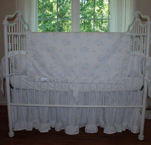 Crib Bedding Set - Shabby Faded Blue Cabbage Rose Deluxe Crib Bedding