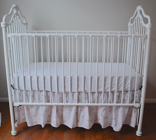 Crib Bedding Set - Shabby Sweet Faded Pink Ditsy Rose Crib Bedding