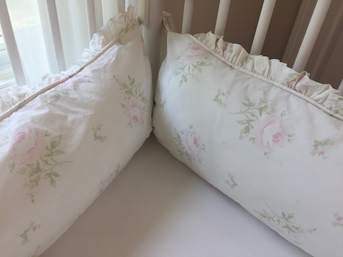 Crib Bedding Set - Shabby Faded Pink Cabbage Rose Crib Bedding with Ruffled Crib Skirt