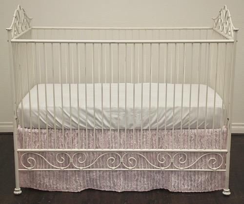 Tailored Crib Skirt - Pale Pink Ruffle Fabric