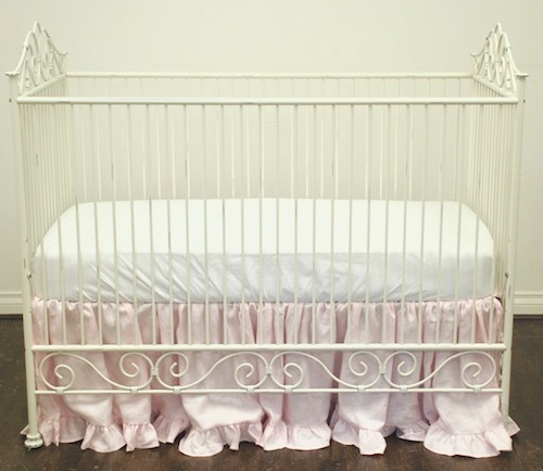 Ruffled Crib Skirt - Pale Pink Linen
