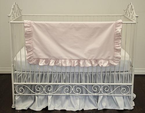 Crib Skirt - Gray Shimmer Silk Ruffled Crib Skirt