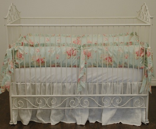 Shabby Aqua Seaside Rose Crib Set #2