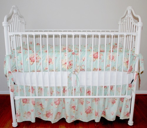 Crib Bedding Set - Shabby Sweet Aqua Seaside Rose Crib Bedding