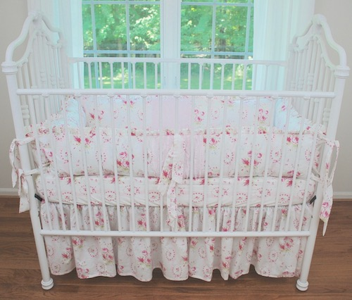 Shabby Pink Sweet Sue Floral Crib Bedding #2
