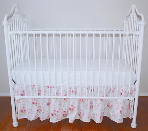 Shabby Pink Sweet Sue Floral Crib Skirt
