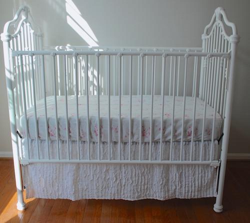 White Tailored Crib Skirt with Ruffle Fabric