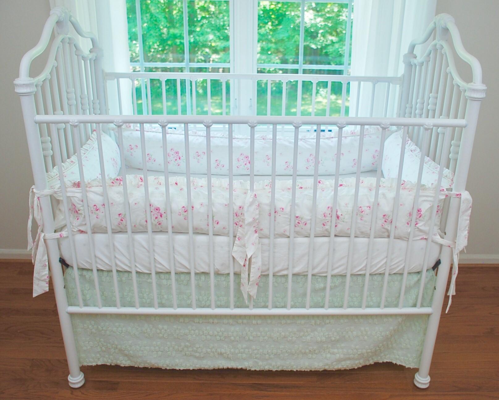 Crib Bedding Set - Shabby Angel Roses with Mint Chenille Skirt  Set#1