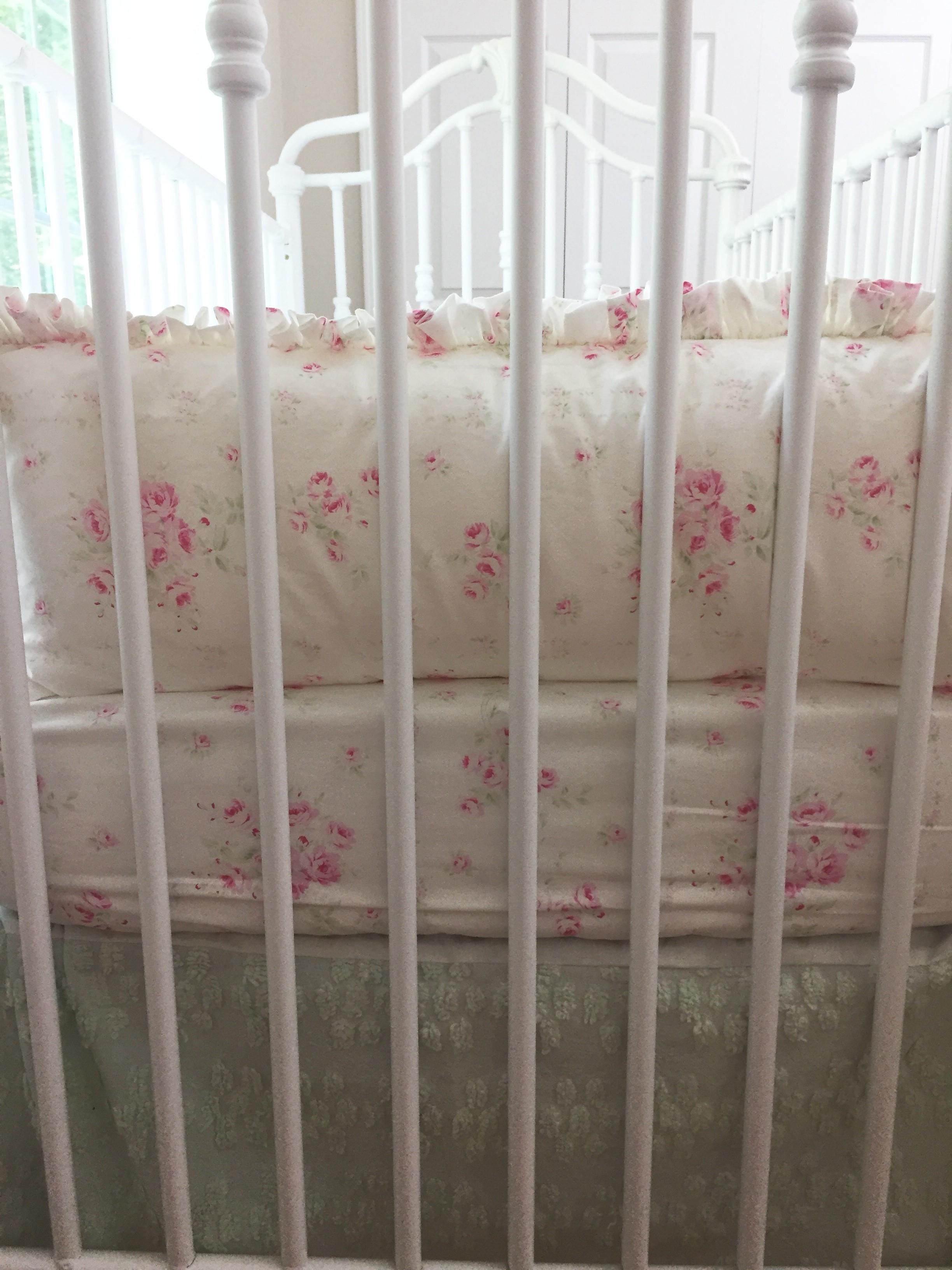 Crib Bedding Set - Shabby Sweet Angel Roses with Mint Chenille Skirt Set #2
