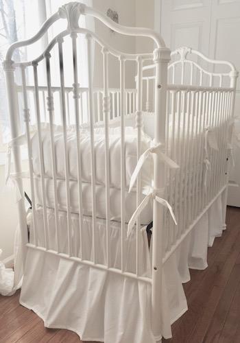 Shabby Snow White Ruffled Crib Bedding